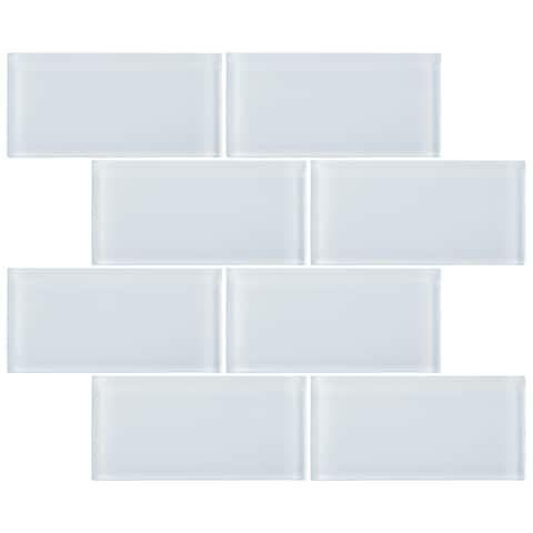 """TileGen. 3"""" x 6"""" Glass Subway Tile in White Wall Tile (80 tiles/10sqft.)"""