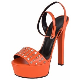 Gucci Women's Orange Leather Studded Leila Platform Sandals Shoes 35 5