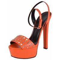 69defd46ff8106 Gucci Women s Orange Leather Studded Leila Platform Sandals Shoes 39.5 9.5