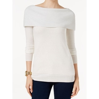 Michael Kors NEW White Ivory Women's XL Off-Shoulder Boat Neck Sweater