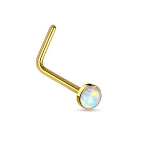 White Opal Flat Top PVD Over Surgical Steel L Bend Nose Stud Ring - 20GA (Sold Ind.)