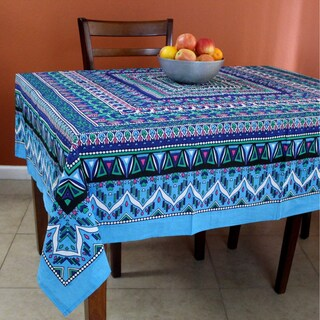 Floral Mandala Cotton Round Tablecloth for Square tables Blue Green Tan Purple Beach Sheet (Option: Blue/Pink - Square)