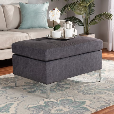 Riley Modern and Contemporary Grey Fabric Upholstered Ottoman