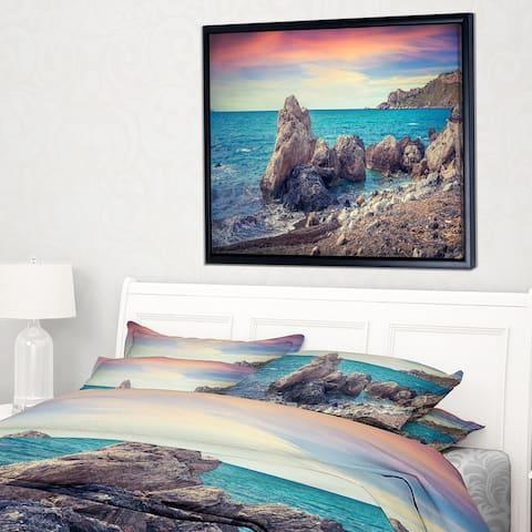 Designart 'Sunrise in Spring Panorama' Seashore Photo Framed Canvas Art Print