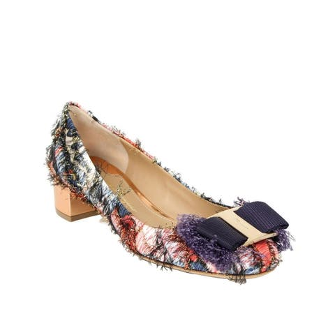 Salvatore Ferragamo Women's Marlia Multicolor Fabric Chunky Bow Pumps 678101