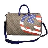 91929a20e25d0a Gucci Unisex Beige Ebony GG Plus Large Limited Edition Boston Duffel Travel  Bag 308264 9766
