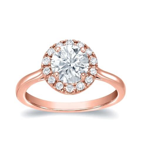 Auriya 14k Gold 1 1/5ctw Halo Moissanite Engagement Ring