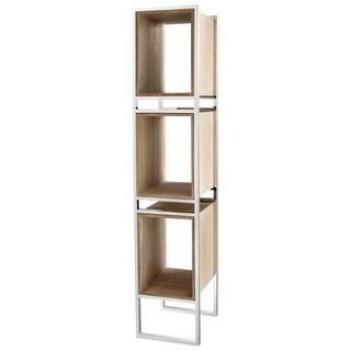 Cyan Design Pueblo Book Shelf Pueblo 78.5 Inch Tall Stainless Steel and Wood Book Shelf