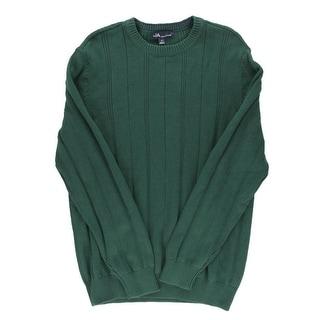 John Ashford Mens Ribbed Cotton Crewneck Sweater