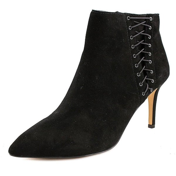 INC International Concepts Tovie Women Pointed Toe Suede Black Bootie