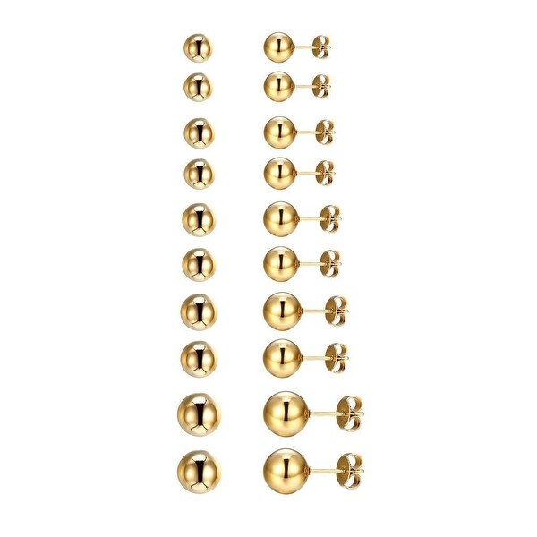 14k Gold Tone Earrings Bead Ball Studs Stainless Steel Mens Womens 3mm-7mm