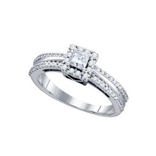14kt White Gold Womens Princess Natural Diamond Princess Bridal Wedding Engagement Ring 1/2 Cttw
