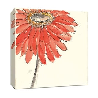 "PTM Images 9-153440  PTM Canvas Collection 12"" x 12"" - ""Tangerine and Grey III v2"" Giclee Flowers Art Print on Canvas"