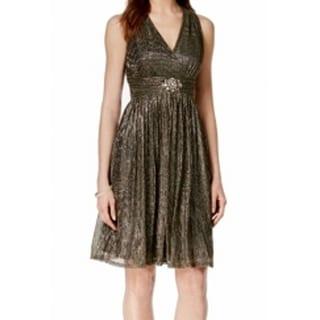 Jessica Howard NEW Gold Women's Size 10 Metallic Empire Waist Dress