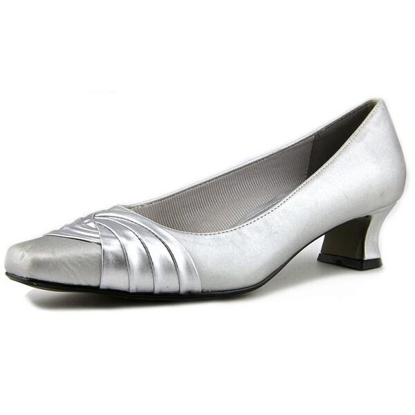 Easy Street Tidal Women WW Round Toe Canvas Silver Heels