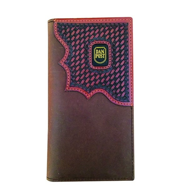 Dan Post Western Wallet Mens Checkbook OS Smooth Brown - One size