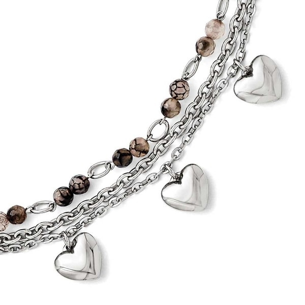 Chisel Stainless Steel Black & White Agate with Hearts Bracelet