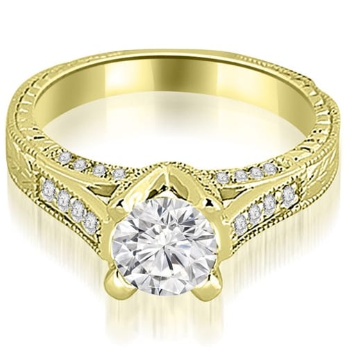 1.10 cttw. 14K Yellow Gold Antique Cathedral Round Cut Diamond Engagement Ring
