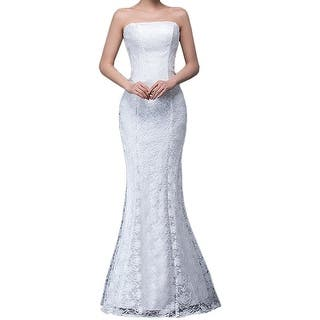Eyekepper Bridesmaid Sexy Strapless Wedding Long Dress Mermaid Lace Prom Gown|https://ak1.ostkcdn.com/images/products/is/images/direct/3dfe0ec2561d93f56bac2661866b777f2f530da0/Eyekepper-Bridesmaid-Sexy-Strapless-Wedding-Long-Dress-Mermaid-Lace-Prom-Gown.jpg?impolicy=medium