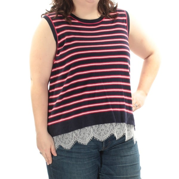 b5464054 Shop TOMMY HILFIGER Womens Navy Lace Striped Sleeveless Jewel Neck Top Plus  Size: 2X - On Sale - Free Shipping On Orders Over $45 - Overstock.com -  21724730