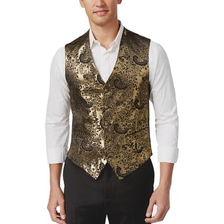 Tallia Orange Mens Slim Black and Gold Paisley Button Front Vest 46 Regular 46R