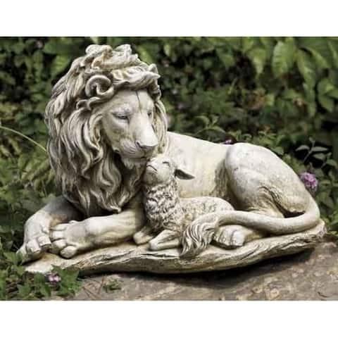 "20"" Joseph's Studio Lion and Lamb Outdoor Garden Statue - N/A"