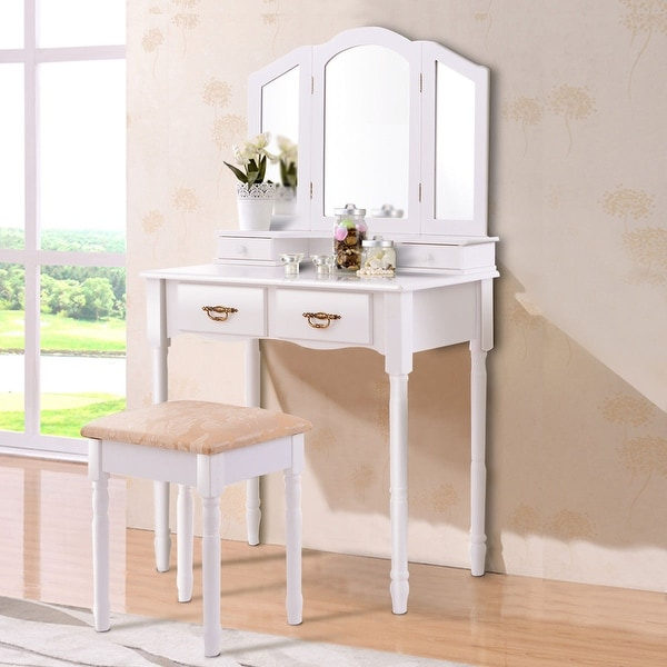 shop costway white tri folding mirror vanity makeup table stool set bathroom w 4 drawers on. Black Bedroom Furniture Sets. Home Design Ideas