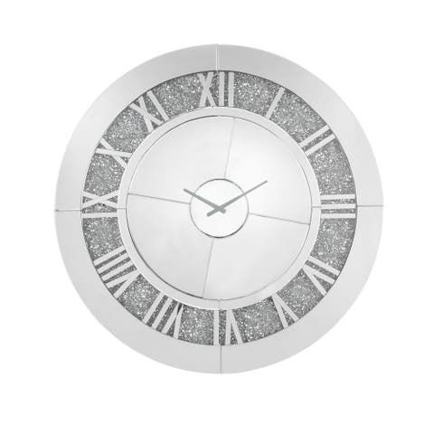 Round Beveled Mirror Frame Wall Clock with Faux diamond Inlay, Silver