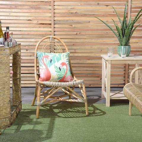 "Mina Victory Outdoor Flamingo Tropical Palm Multicolor Throw Pillow , ( 18""X18"" )"