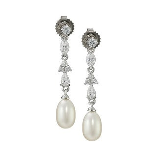 Honora 7-7.5 mm Freshwater Cultured Pearl Drop Earrings with Swarovski Zirconia in Sterling Silver