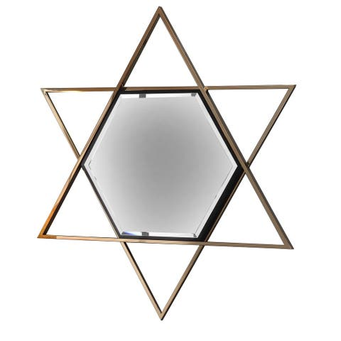 Hexagon Shaped Wall Mirror with Star Frame, Champagne Gold