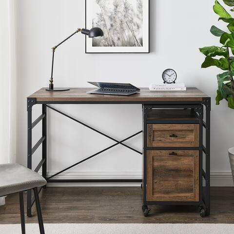 Carbon Loft 48-Inch Angle Iron Desk & Filing Cabinet