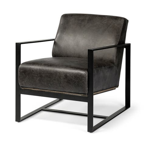 Stamford I Black Genuine Leather Wrapped Metal Frame Accent Chair