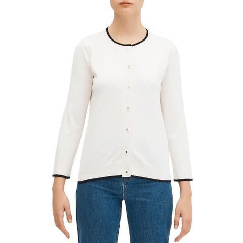 Kate Spade Womens Cardigan Sweater Silk Button Down - French Cream