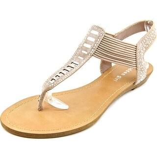 Madden Girl Triixie Women Open Toe Canvas Tan Thong Sandal
