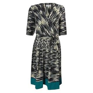 Sandra Darren Women's Contrast Hem Belted Jersey Dress - 12