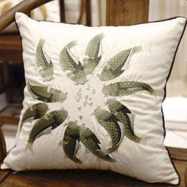 "Luxury Green Fish Embroidered Pillow 18""X18"""