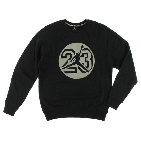 2fcf2383e3d1 Shop Nike Jordan Mens Graphic Fleece Crew Sweatshirt Black - Black Grey - M  - Free Shipping Today - Overstock - 22545158