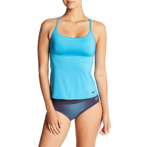 Nike Womens Adjustable Cross-Back Tankini Top Small S Light Blue Fury