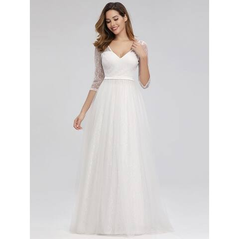 Ever-Pretty Womens Elegant A-Line Floral Lace Bridal Gowns Wedding Dresses for Bride 00806