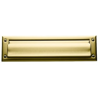 Baldwin 12 Package Sized Spring Tension Brass Letter Box Plate