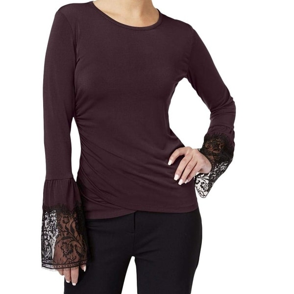 Kobi Halperin Purple Women's Size Small S Lace Trim Knit Top