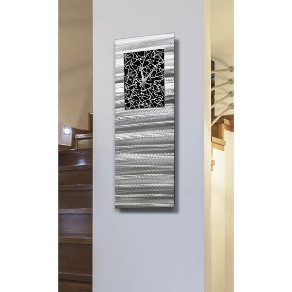 "Statements2000 Silver & Black Wall Clock Modern Abstract Art by Jon Allen - Atomic Radiance - 24"" x 9"". Opens flyout."