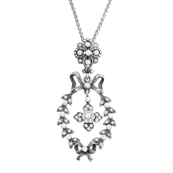 Van Kempen Victorian Simulated Pearl Wreath Pendant with Swarovski elements Crystals in Sterling Silver