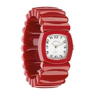 Floriana Women's Wrist Watch - Retro Vintage Look Acrylic Stretch Band, 3 Colors - Red - Medium