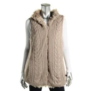 Aqua Womens Outerwear Vest Faux Fur Cable Knit - s