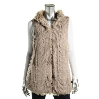 Aqua Womens Outerwear Vest Faux Fur Cable Knit - s