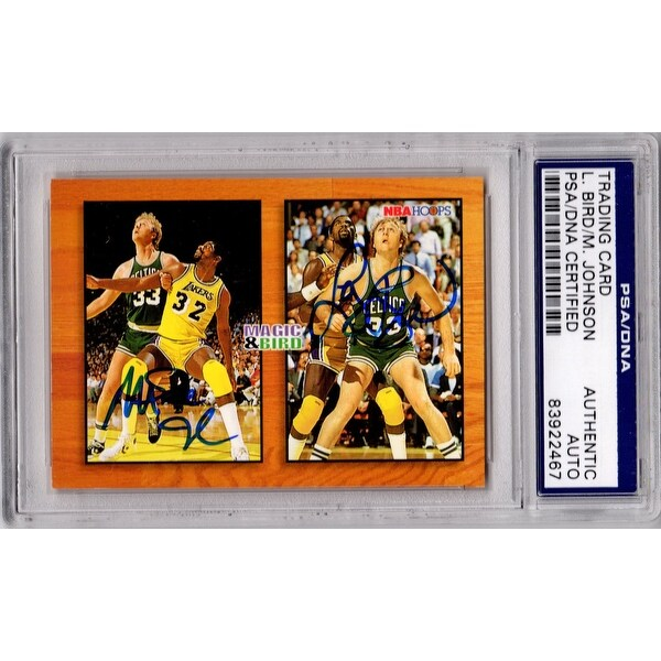 1a78b78a57f Shop Larry Bird Magic Johnson Dual Celtics Lakers 1994 NBA Sky Box Hoops  Card MB1 PSADNA - Free Shipping Today - Overstock - 15832466