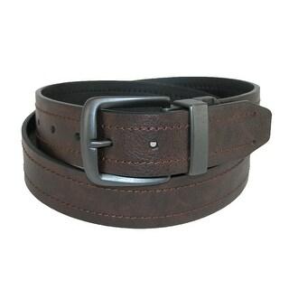 Dickies Men's 38mm Reversible Cut Edge Belt with Gunmetal Buckle - brown to black