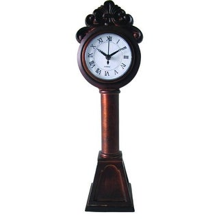 "13"" Elegant Grandfather Style Miniature Rustic Red Roman Numeral Mantle Clock"